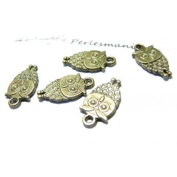 20 pieces petites chouettes ref 2D1140 biface métal couleur Bronze - Photo n°1