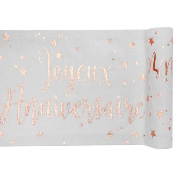 Chemin de table Joyeux Anniversaire rose gold x 3 mètres - Photo n°1