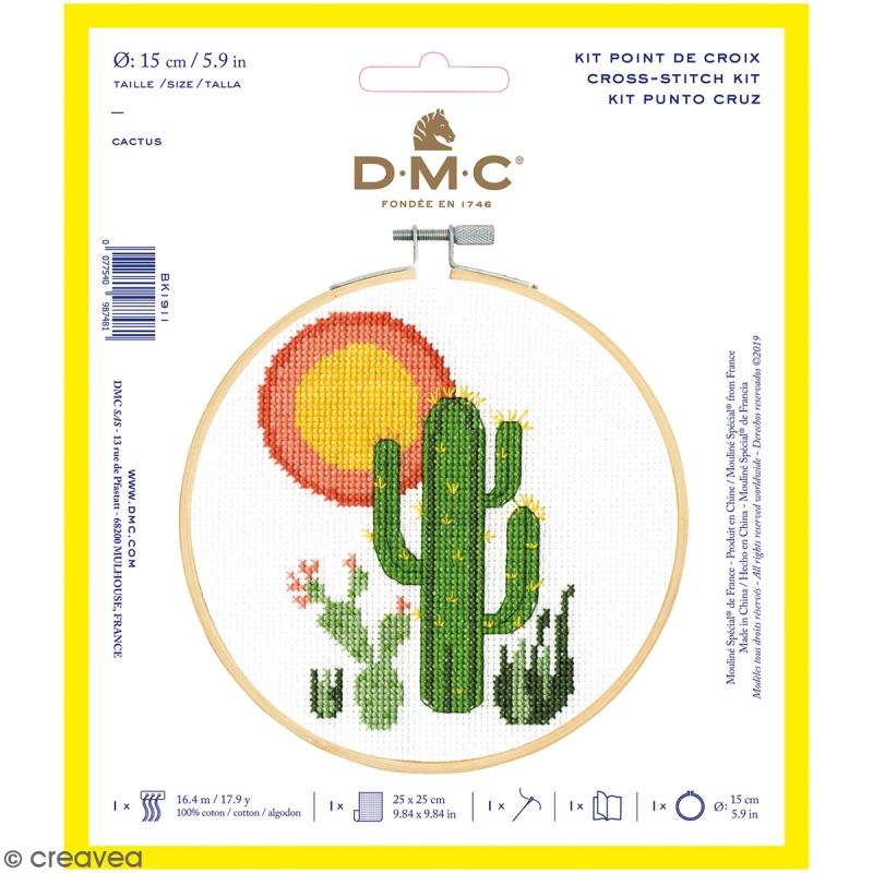 Kit de Broderie Point de croix avec cadre tambour - Cactus - 15 cm - Kit point de croix - Creavea