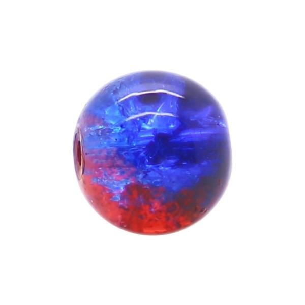 100 x Perle en Verre Craquelé Bicolore 6mm Bleu Rouge - Photo n°1