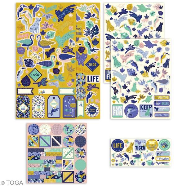 Kit Scrapbooking Formes et Stickers - Jungle Vibes - 300 pcs - Photo n°2