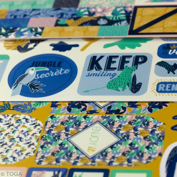Kit Scrapbooking Formes et Stickers - Jungle Vibes - 300 pcs - Photo n°3