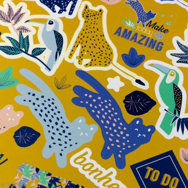 Kit Scrapbooking Formes et Stickers - Jungle Vibes - 300 pcs - Photo n°4