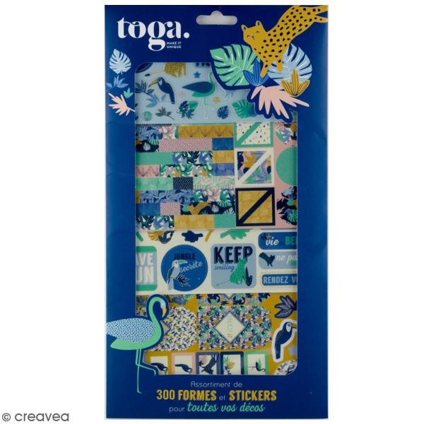 Kit Scrapbooking Formes et Stickers - Jungle Vibes - 300 pcs - Photo n°1