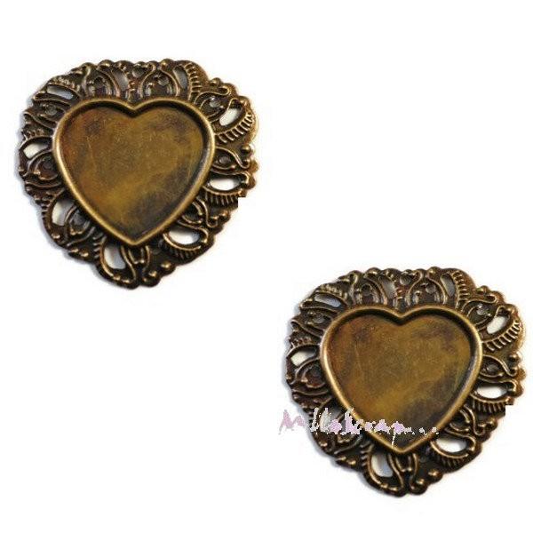 Breloques cadres cœurs métal bronze- 2 pièces - Photo n°1