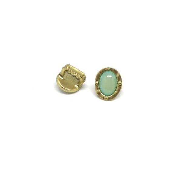 2 Perles Passant Doré Pâle En Métal Avec Cabochon Ovale Vert Opaline, Prehnite À Gros Trou - Photo n°2