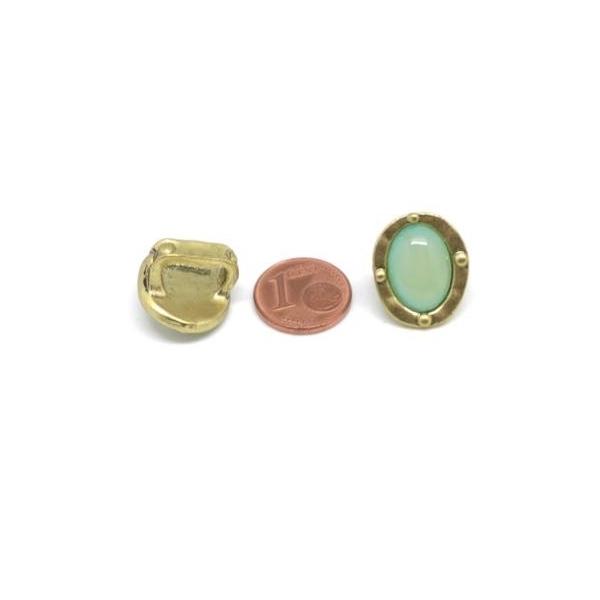 2 Perles Passant Doré Pâle En Métal Avec Cabochon Ovale Vert Opaline, Prehnite À Gros Trou - Photo n°4