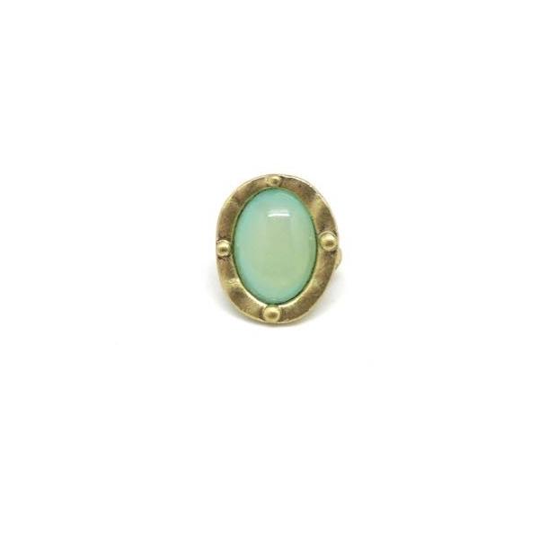 2 Perles Passant Doré Pâle En Métal Avec Cabochon Ovale Vert Opaline, Prehnite À Gros Trou - Photo n°5