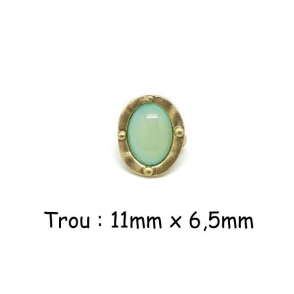 2 Perles Passant Doré Pâle En Métal Avec Cabochon Ovale Vert Opaline, Prehnite À Gros Trou - Photo n°1