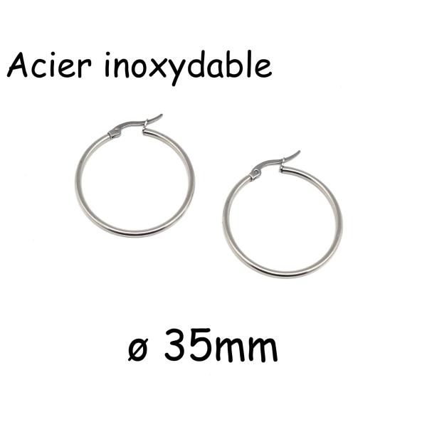 1 Paire Boucles D'oreilles Créole Argenté En Acier Inoxydable 35mm - Photo n°1