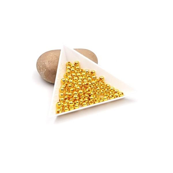 100 Perles Intercalaires Rondes En Métal 4mm Couleur Or Doré - Photo n°1