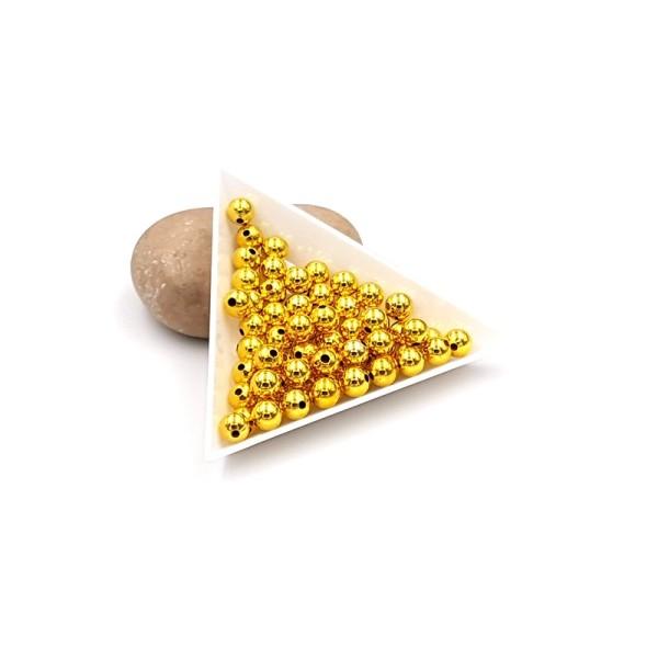 100 Perles Intercalaires Rondes En Métal 6mm Couleur Or Doré - Photo n°1