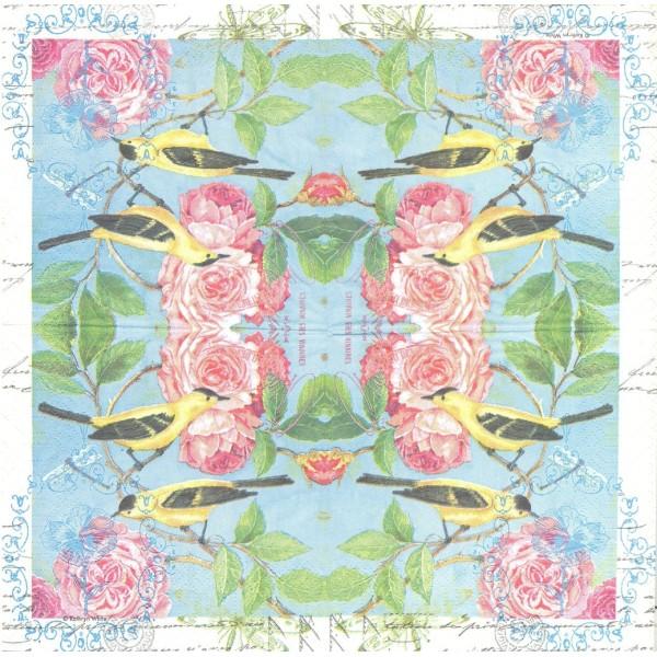 4 Serviettes en papier Oiseau Camélia Format Lunch Decoupage Decopatch 6276 PPD - Photo n°1