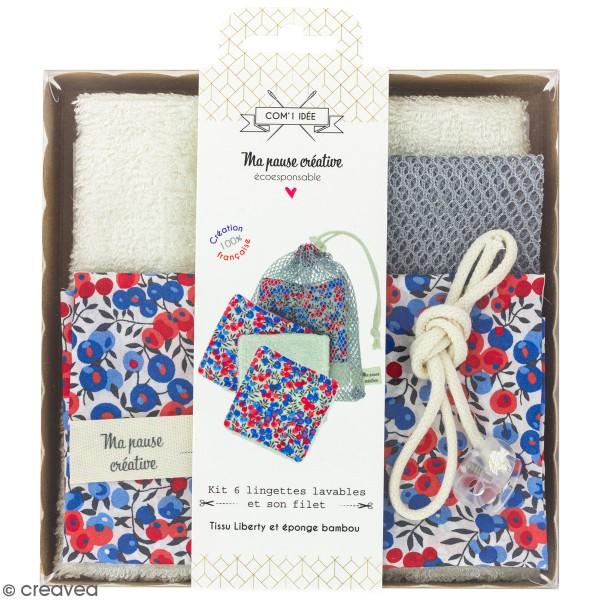 Kit couture - Lingettes lavables et filet - Tissus Liberty - 7 pcs - Photo n°1