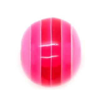 10 x Perle Résine Ovale Transparent Rayé Rose Vif
