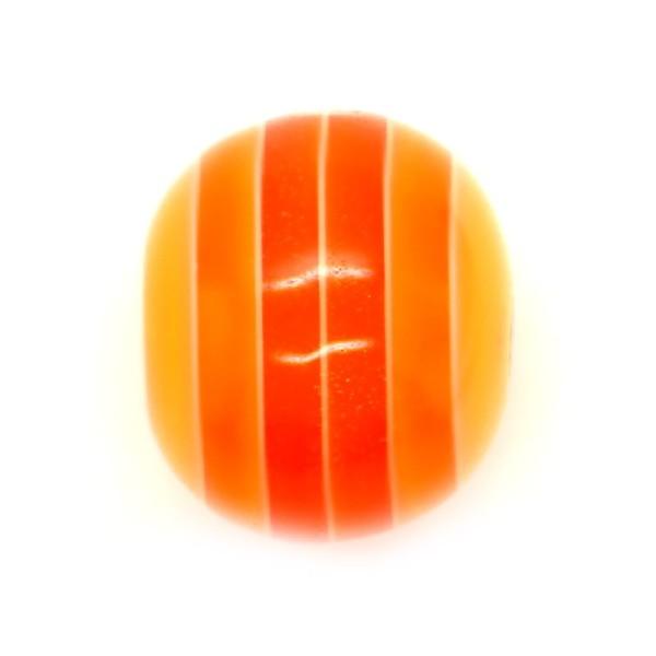 10 x Perle Résine Ovale Transparent Rayé Orange - Photo n°1
