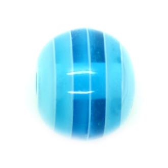10 x Perle Résine Ovale Transparent Rayé Bleu Ciel
