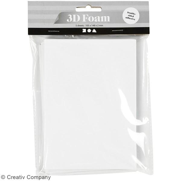 Feuille mousse adhésive double face blanc - 10,5 x 14,8 cm - 5 Pcs - Photo n°2