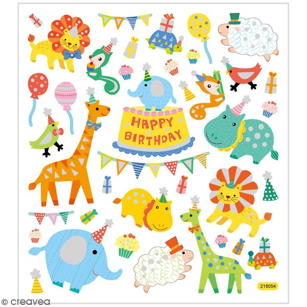 Stickers Creotime - Happy Birthday - 26 pcs environ - Photo n°1