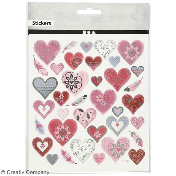 Stickers Creotime - Coeurs et Plumes - 37 pcs environs - Photo n°2