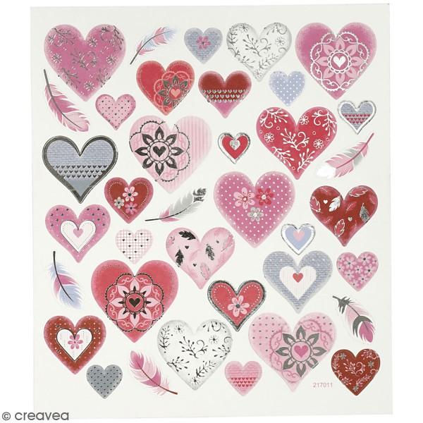 Stickers Creotime - Coeurs et Plumes - 37 pcs environs - Photo n°1