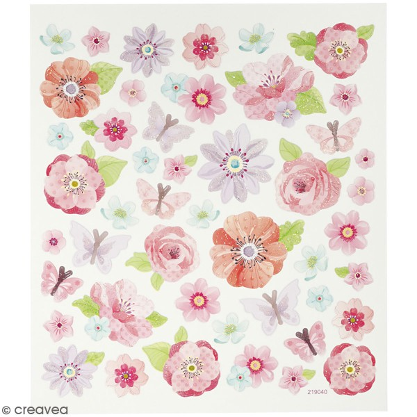 Stickers Creotime - Fleurs de printemps - 40 pcs environ - Photo n°1