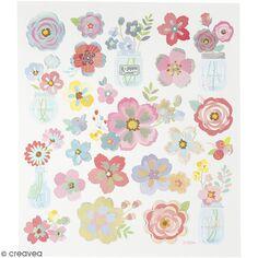 Stickers effet holographique Creotime - Fleurs - 24 pcs environ