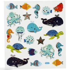 Stickers Creotime - Animaux marins - 21 pcs environ