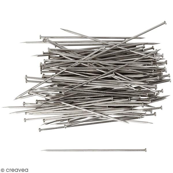 Epingles à tête argentées - Longueur 34 mm - 50 gr - Photo n°1