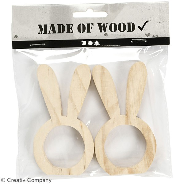 Rond de serviette en bois à décorer - Lapin - 2 Pcs - Photo n°2