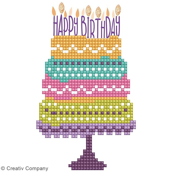 Petit Kit Carte de Voeux Diamond painting - Diamond Dotz - Happy Birthday - 17,7 x 12,6 cm - Photo n°2