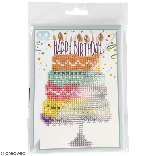 Petit Kit Carte de Voeux Diamond painting - Diamond Dotz - Happy Birthday - 17,7 x 12,6 cm - Photo n°1