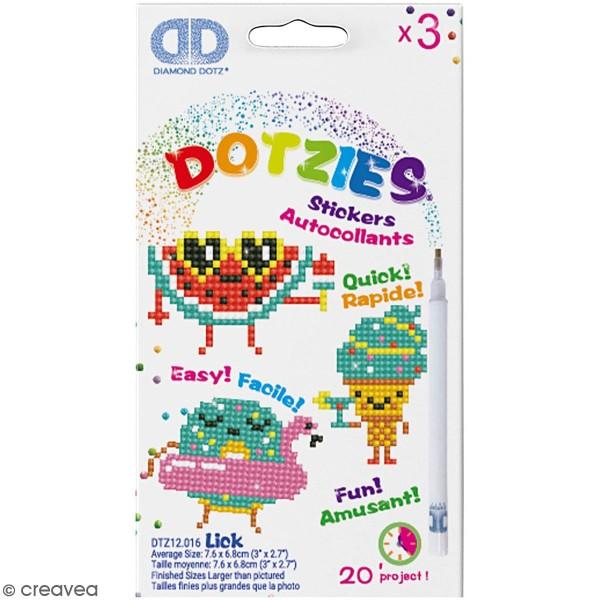 Petit Kit 3 Stickers à décorer - Diamond Dotz - Personnage rigolo - Photo n°1