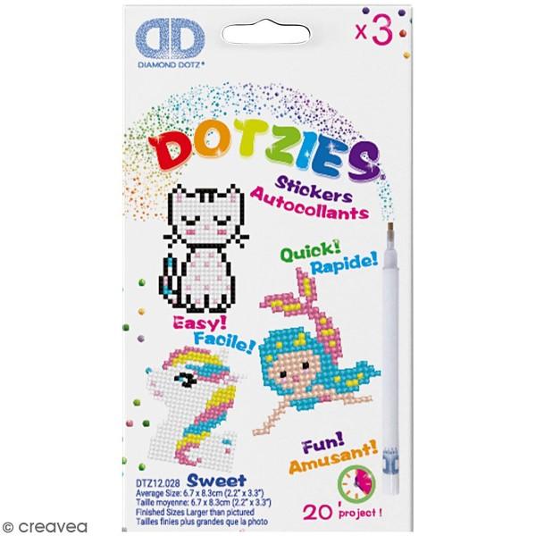 Petit Kit 3 Stickers à décorer - Diamond Dotz - Féérique - Photo n°1