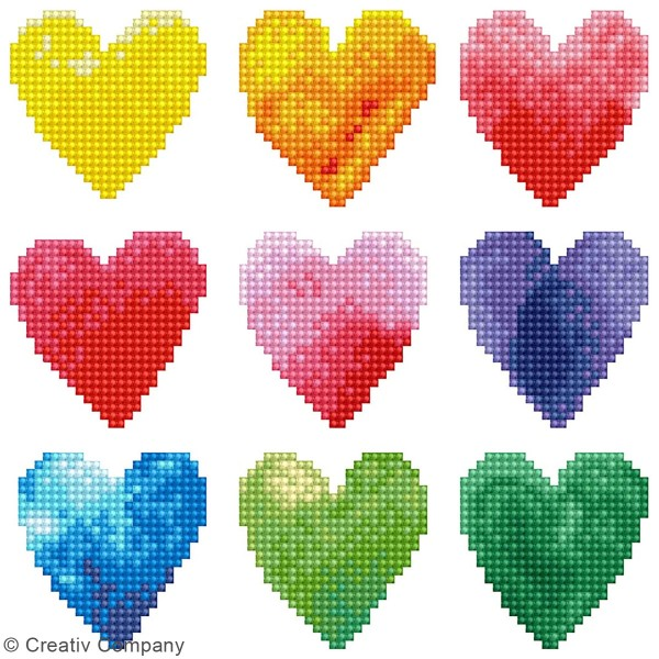 Kit Diamond painting - Diamond Dotz - Coeurs Multicolores - 23 x 23 cm - Photo n°2
