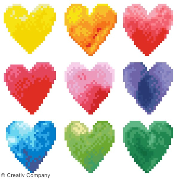 Kit Diamond painting - Diamond Dotz - Coeurs Multicolores - 23 x 23 cm - Photo n°3