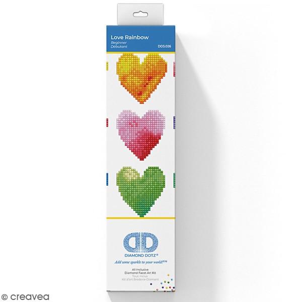 Kit Diamond painting - Diamond Dotz - Coeurs Multicolores - 23 x 23 cm - Photo n°1