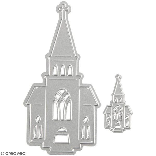 Matrice de coupe Creotime - Eglise - 9,2 x 4,7 cm - 2 Pcs - Photo n°1