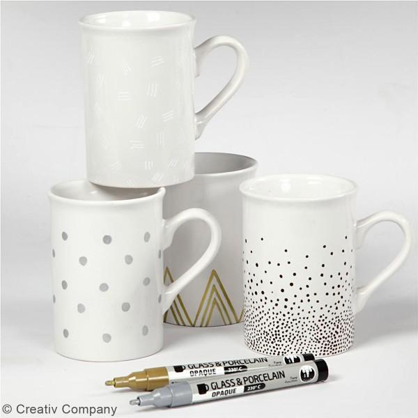 Lot de feutres pour verre et porcelaine - Couleurs opaques - 1 à 2 mm - 4 pcs - Photo n°2