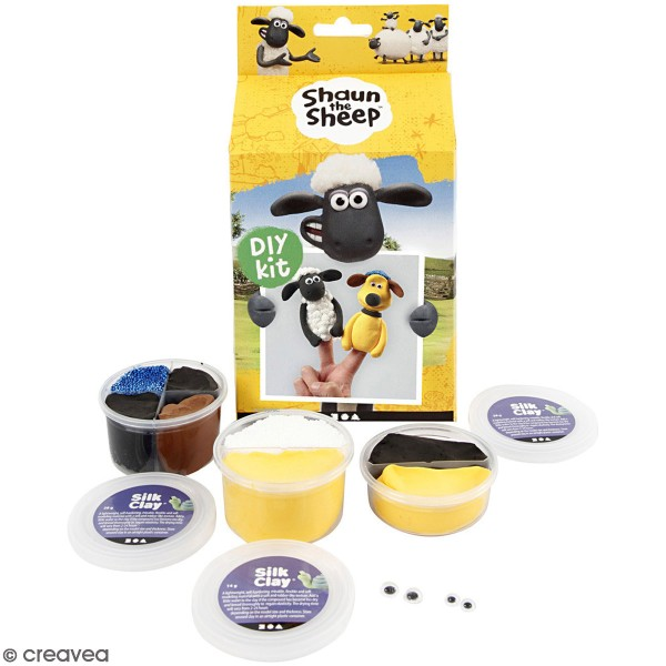 Kit modelage Silk Clay Shaun le mouton - Marionnettes à doigt - Photo n°1
