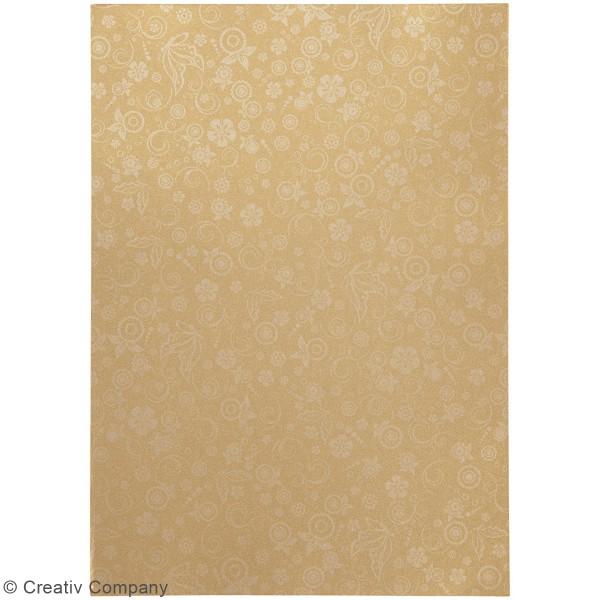 Papier scrapbooking A4 coloris Doré - Motifs argentés - 20 feuilles - Photo n°2