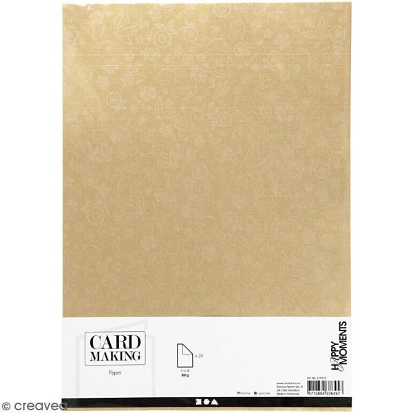 Papier scrapbooking A4 coloris Doré - Motifs argentés - 20 feuilles - Photo n°1