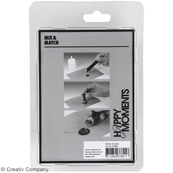 Kit de cire à cacheter - Blanc nacré - Motifs couronne de feuilles - 2 pcs - Photo n°3