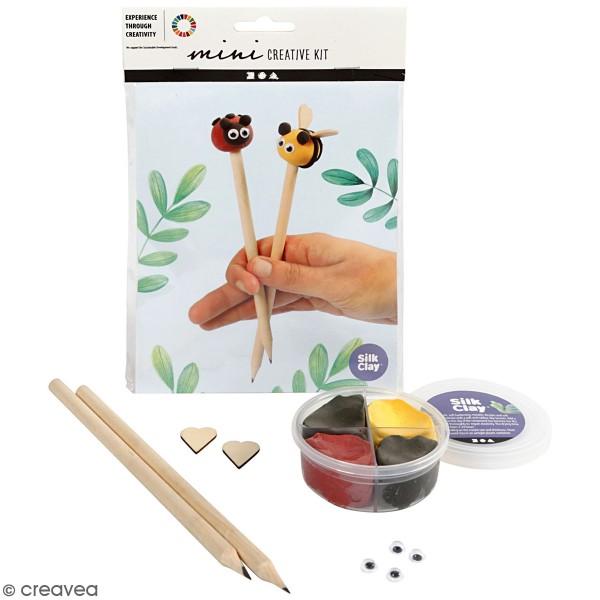 Kit créatif modelage Silk Clay - Crayon coccinelle et abeille - Photo n°1