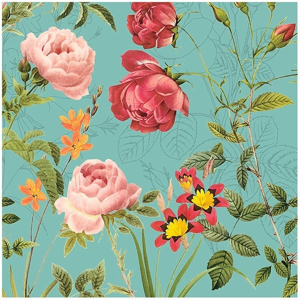 4 serviettes en papier découpage collage 33 cm FLEUR ROSE FOND VERT F 7010 - Photo n°1