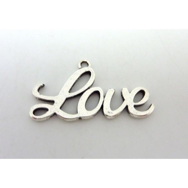 1 Pendentif Love En Métal Argenté 39mm - Photo n°1