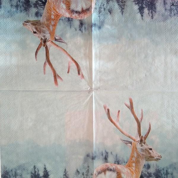 4 serviettes en papier découpage collage 33 cm CHEVREUIL A 2004 - Photo n°2