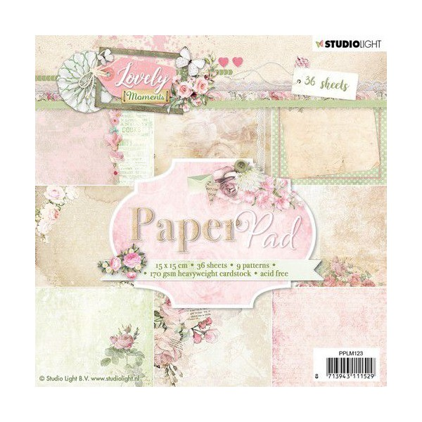 36 papiers scrapbooking 15 x 15 cm STUDIOLIGHT LOVELY MOMENTS 123 - Photo n°1