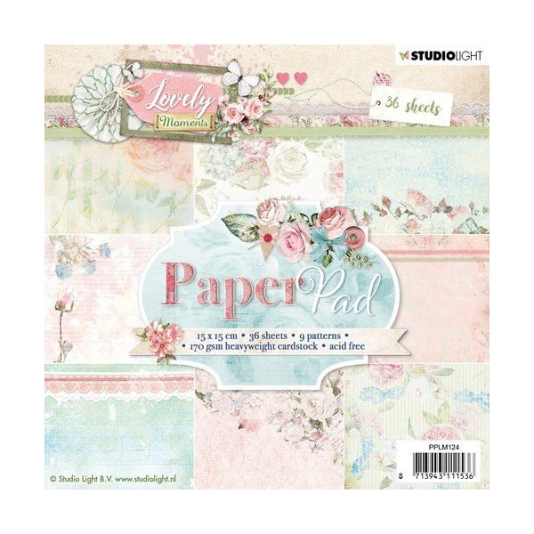 36 papiers scrapbooking 15 x 15 cm STUDIOLIGHT LOVELY MOMENTS 124 - Photo n°1