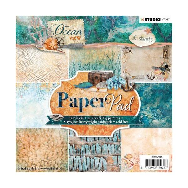 36 papiers scrapbooking 15 x 15 cm STUDIOLIGHT OCEAN VIEW 118 - Photo n°1